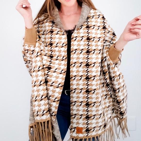 Houndstooth Sweater Shawl Cardigan